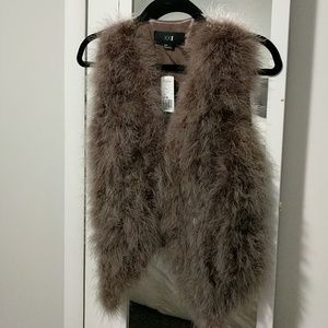 Cocoa colored feather vest